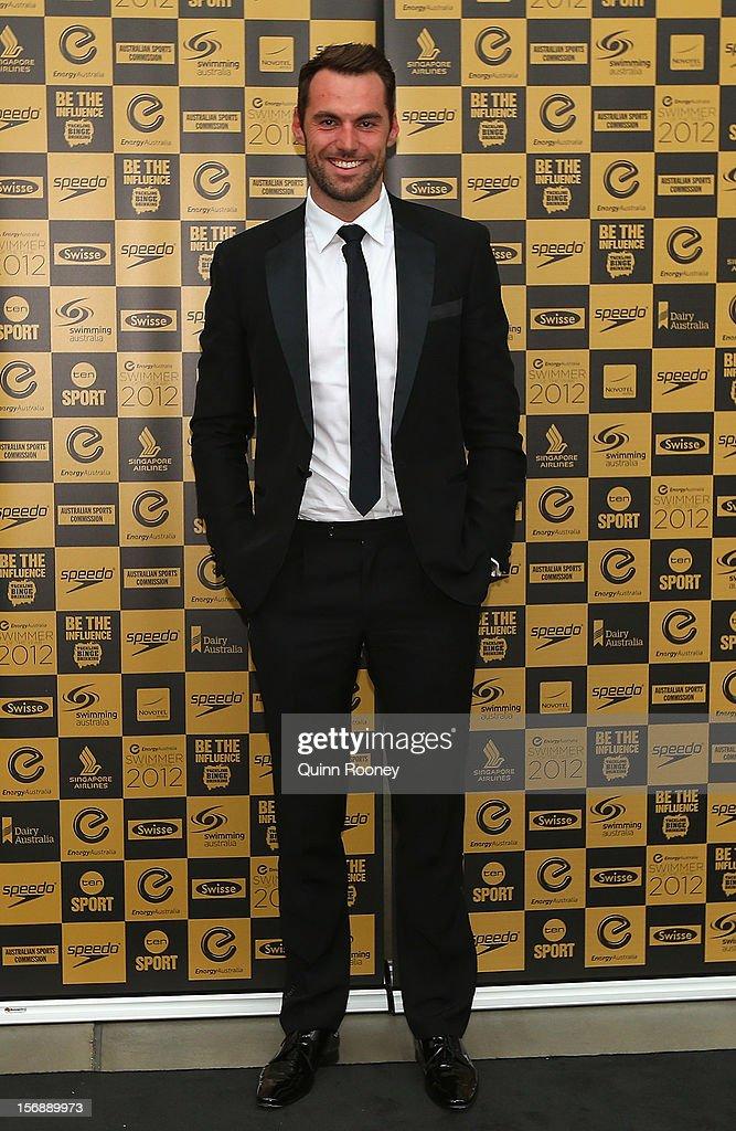 Australian swimmer Matt Targett arrives at the 2012 Swimmer of the Year Awards at the Melbourne Museum on November 24, 2012 in Melbourne, Australia.