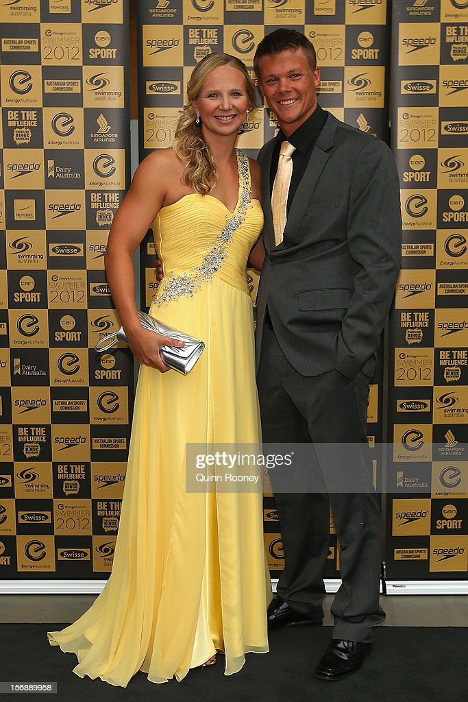 Australian swimmer Melanie Schlanger and Richard Kliskey arrive at the 2012 Swimmer of the Year Awards at the Melbourne Museum on November 24, 2012 in Melbourne, Australia.