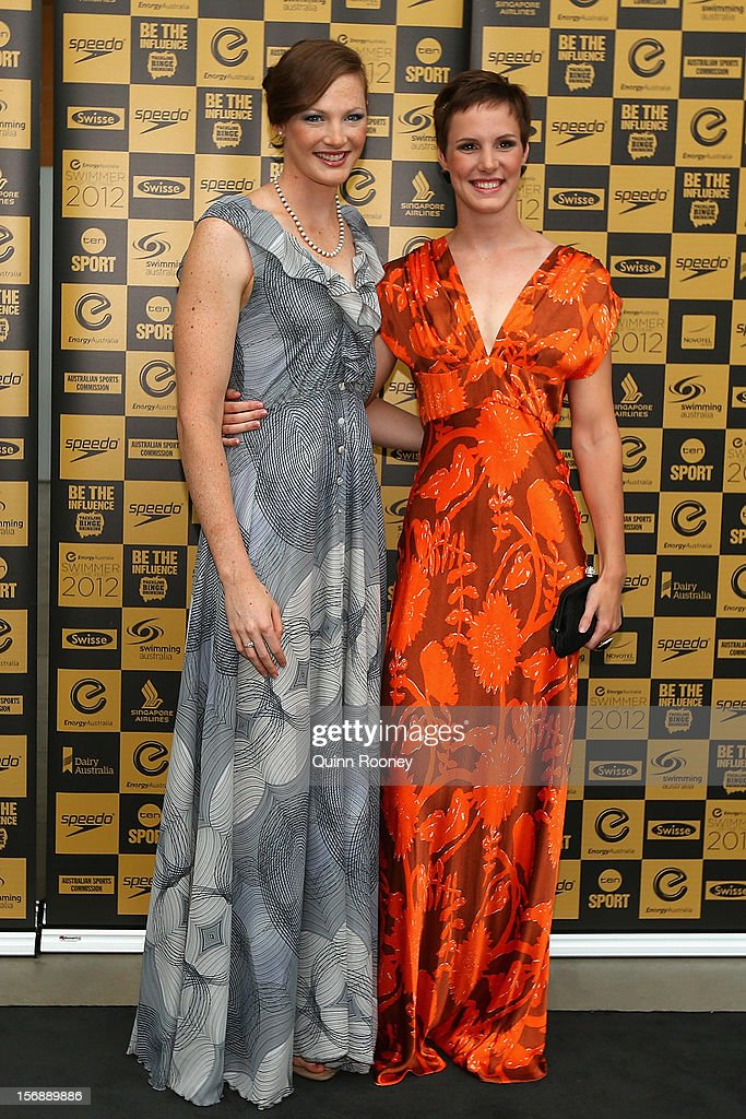 Australian swimmers Cate Campbell and Bronte Campbell arrive at the 2012 Swimmer of the Year Awards at the Melbourne Museum on November 24, 2012 in Melbourne, Australia.