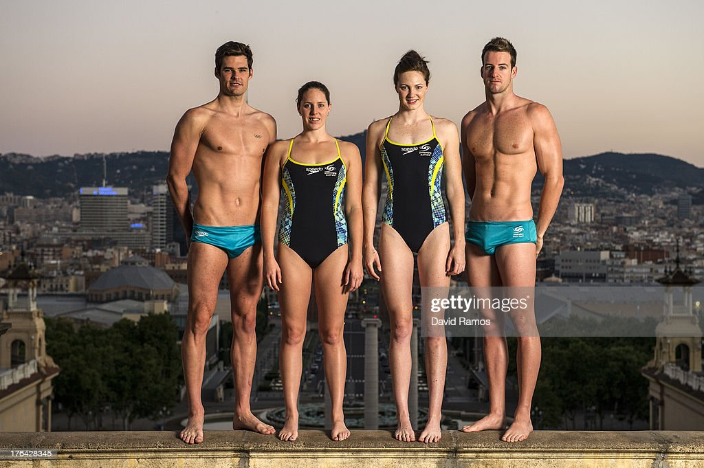 Australian swimmers Christian Sprenger, <a gi-track='captionPersonalityLinkClicked' href=/galleries/search?phrase=Alicia+Coutts&family=editorial&specificpeople=2905127 ng-click='$event.stopPropagation()'>Alicia Coutts</a>, <a gi-track='captionPersonalityLinkClicked' href=/galleries/search?phrase=Cate+Campbell&family=editorial&specificpeople=4115465 ng-click='$event.stopPropagation()'>Cate Campbell</a> and <a gi-track='captionPersonalityLinkClicked' href=/galleries/search?phrase=James+Magnussen&family=editorial&specificpeople=7229851 ng-click='$event.stopPropagation()'>James Magnussen</a> pose during a portrait session following the 15th FINA World Championships, on August 5, 2013 in Barcelona, Spain.