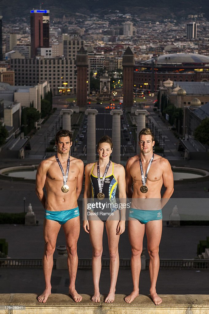 Australian swimmers Christian Sprenger, <a gi-track='captionPersonalityLinkClicked' href=/galleries/search?phrase=Cate+Campbell&family=editorial&specificpeople=4115465 ng-click='$event.stopPropagation()'>Cate Campbell</a> and <a gi-track='captionPersonalityLinkClicked' href=/galleries/search?phrase=James+Magnussen&family=editorial&specificpeople=7229851 ng-click='$event.stopPropagation()'>James Magnussen</a> pose during a portrait session following the 15th FINA World Championships, on August 5, 2013 in Barcelona, Spain.
