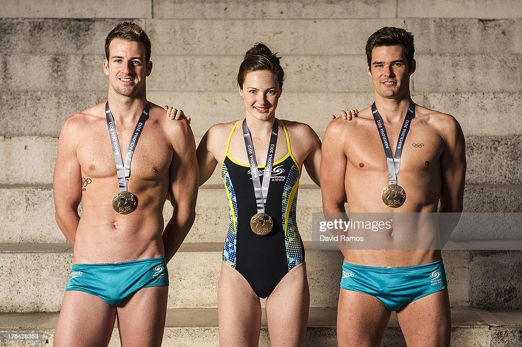 Australian swimmers <a gi-track='captionPersonalityLinkClicked' href=/galleries/search?phrase=James+Magnussen&family=editorial&specificpeople=7229851 ng-click='$event.stopPropagation()'>James Magnussen</a>, <a gi-track='captionPersonalityLinkClicked' href=/galleries/search?phrase=Cate+Campbell&family=editorial&specificpeople=4115465 ng-click='$event.stopPropagation()'>Cate Campbell</a> and Christian Sprenger pose during a portrait session following the 15th FINA World Championships, on August 5, 2013 in Barcelona, Spain.