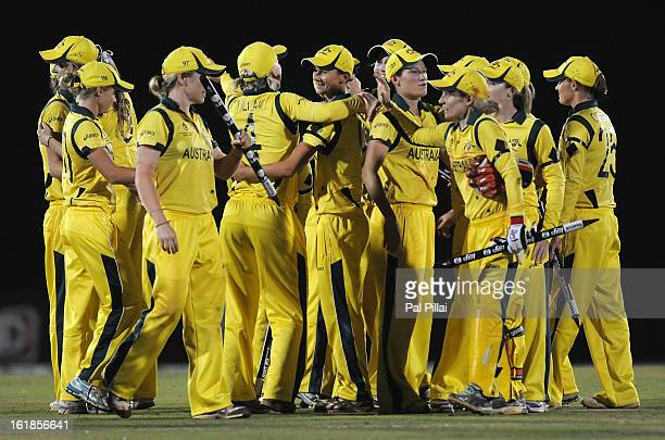 Australian team celebrate after winning the Womens World cup between Australia and West Indies held at the CCI stadium on February 17 2013 in Mumbai...