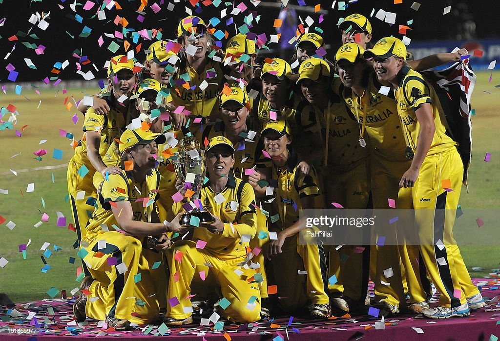 Australian team celebrate with the Womens World Cup Trophy after the final between Australia and West Indies, at the CCI (Cricket Club of India) stadium on February 17, 2013 in Mumbai, India.