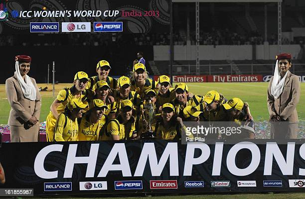 Australian team celebrate with the Womens World Cup Trophy after the final between Australia and West Indies at the CCI stadium on February 17 2013...