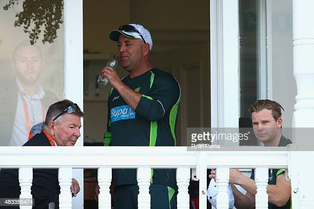 Australian Team Manager Gavin Dovey Australian Chairman of Selectors Rod Marsh Australian coach Darren Lehmann and Steve Smith of Australia look on...