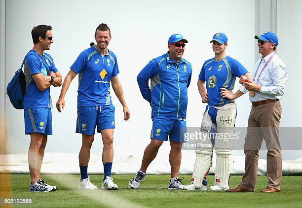 Australian Team Physiotherapist David Beakley Peter Siddle of Australia Australian coach Darren Lehmann Steve Smith of Australia and Australian...