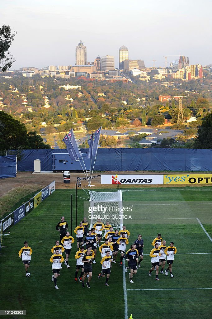 Australian team warms up during a training session on May 28, 2010 at the Saint Stithians school training field in Johannesburg. The FIFA 2010 World Cup will take place from June 11 to July 11 in South Africa.