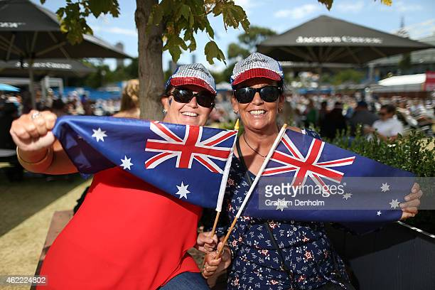 Australian tennis fans show their support on Australia Day during day eight of the 2015 Australian Open at Melbourne Park on January 26 2015 in...