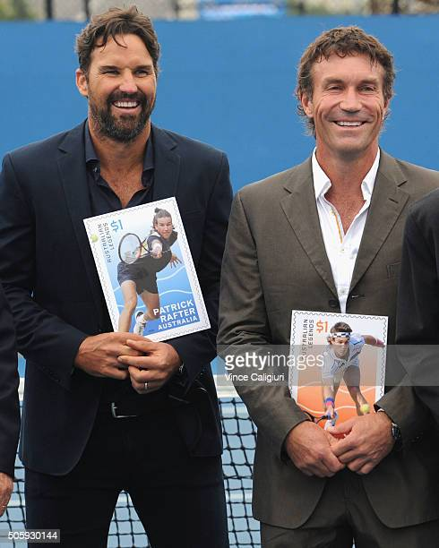 Australian tennis legends Patrick Rafterand Pat Cash pose after being honoured on a postage stamp as recipients of the 2016 Australia Post Legends...