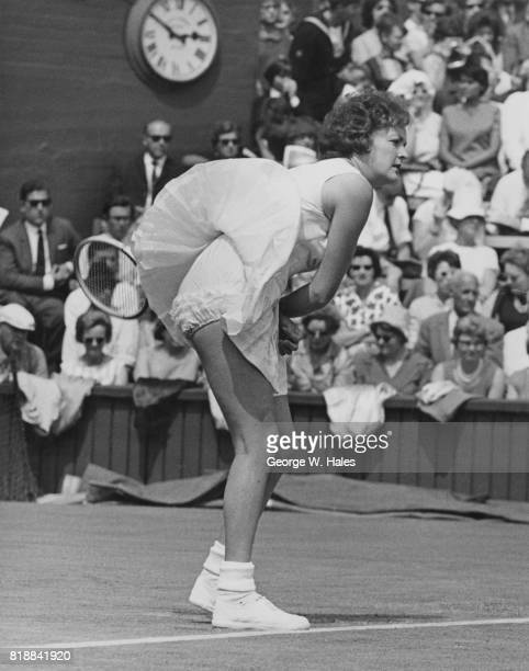 Australian tennis player Jan Lehane during her match against Miss F Durr of France on the centre court at Wimbledon London 24th June 1964