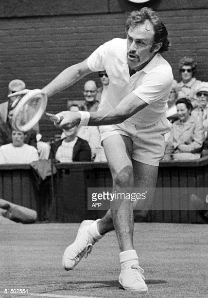 Australian tennis player John Newcombe returns a ball in June 1971 during the Wimbledon championships Newcombe won for the third time the men's...