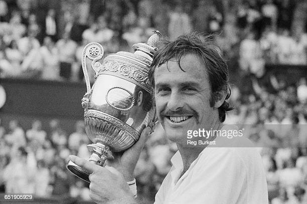 Australian tennis player John Newcombe wins the Men's Singles final at Wimbledon after beating America's Stan Smith London 4th July 1971