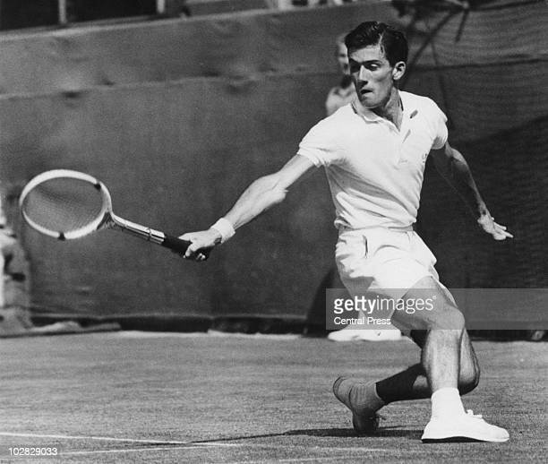 Australian tennis player Ken Rosewall competing in a Davis Cup match against the US in Adelaide Australia January 1957