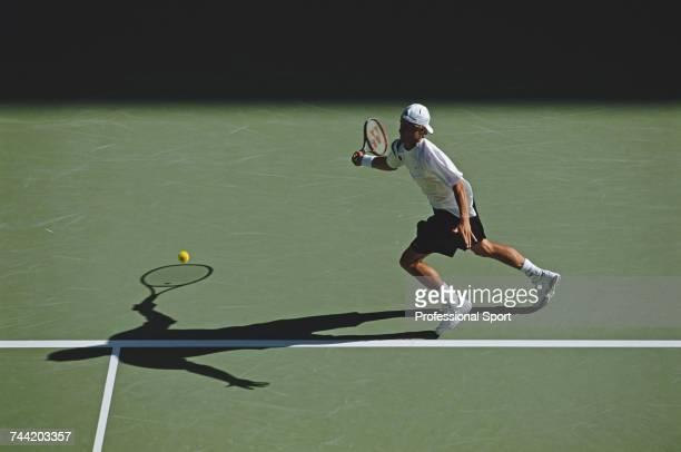Australian tennis player Lleyton Hewitt pictured in action during progress to reach the fourth round of the Men's Singles tennis tournament at the...