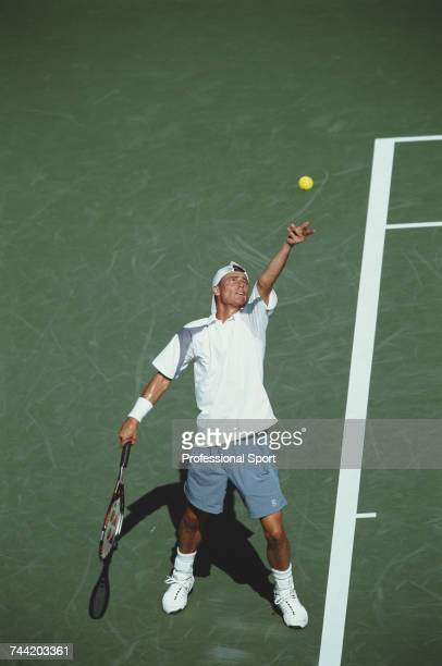 Australian tennis player Lleyton Hewitt pictured in action during progress to reach the semifinals of the 2002 US Open Men's Singles tennis...