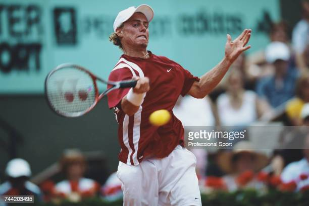 Australian tennis player Lleyton Hewitt pictured in action during progress to reach the third round of the Men's Singles tennis tournament at the...