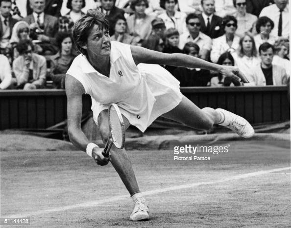 Australian tennis player Margaret Court lunges for a ball during her Wimbledom semifinal match against Rosemary Casals July 1 1970 Court won the...