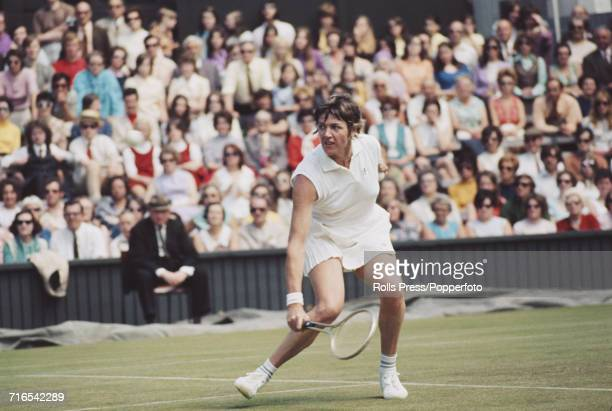 Australian tennis player Margaret Court pictured in action during competition to reach the final of the Women's Singles competition at the Wimbledon...