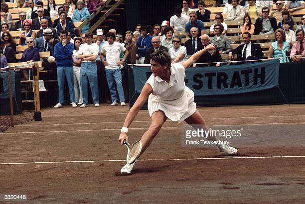 Australian tennis player Margaret Court playing in a championship match at Bournemouth