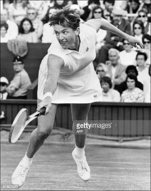 Australian tennis player Margaret CourtSmith plays a forehand 01 July 1971 during the Wimbledon championships CourtSmith won 24 women's singles...