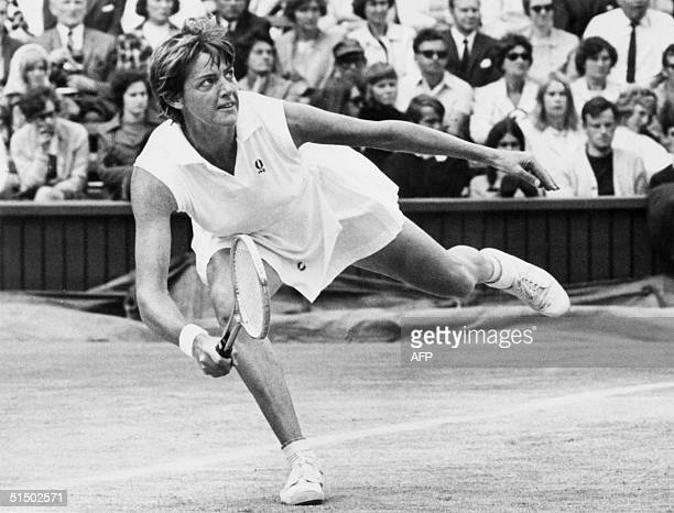 Australian tennis player Margaret CourtSmith plays a forehand 03 July 1970 during the Wimbledon championships in London CourtSmith won 24 women's...