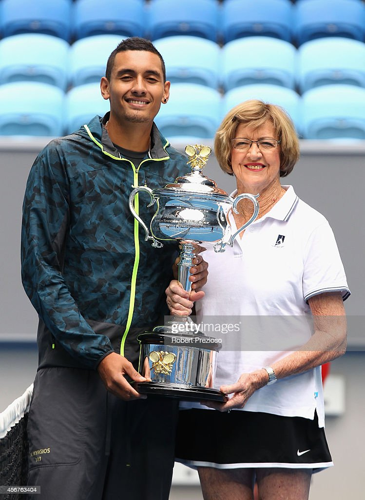 Australian tennis player Nick Kyrios and tennis legend <a gi-track='captionPersonalityLinkClicked' href=/galleries/search?phrase=Margaret+Court&family=editorial&specificpeople=226911 ng-click='$event.stopPropagation()'>Margaret Court</a> pose for photos during the 2015 Australian Open launch at Melbourne Park on October 7, 2014 in Melbourne, Australia.