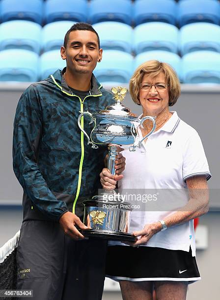 Australian tennis player Nick Kyrios and tennis legend Margaret Court pose for photos during the 2015 Australian Open launch at Melbourne Park on...