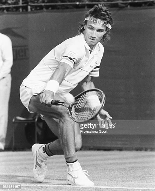 Australian tennis player Pat Cash in action at Wimbledon Tennis Championships London in June 1986