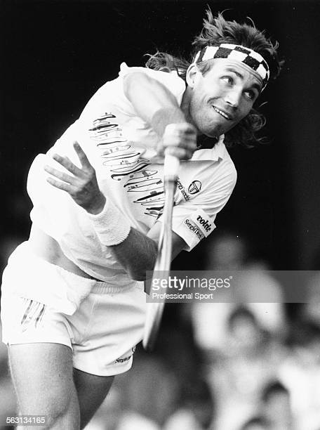 Australian tennis player Pat Cash in action at Wimbledon Tennis Championships London June 1988