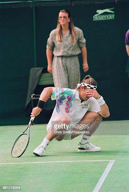 Australian tennis player Pat Cash pictured in frustration during action to lose to American tennis player John McEnroe 67 64 67 63 62 in the second...