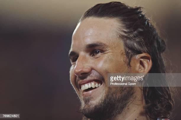 Australian tennis player Patrick Rafter pictured during competition for Australia in the 1998 Hopman Cup at the Burswood Entertainment Complex in...