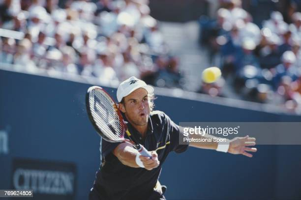 Australian tennis player Patrick Rafter pictured in action during competition to reach and win the final of the 1997 US Open Men's Singles tennis...