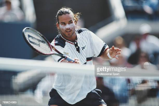 Australian tennis player Patrick Rafter pictured in action during competition to reach and win the final of the 1998 US Open Men's Singles tennis...
