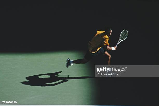 Australian tennis player Patrick Rafter pictured in action during competition to reach the semifinals of the Men's Singles tennis tournament at the...