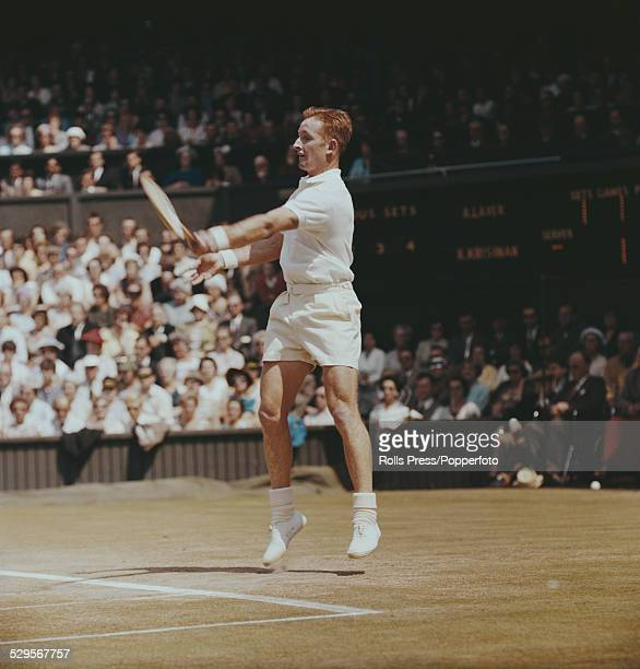 Australian tennis player Rod Laver pictured in action during his semifinal match with India's Ramanathan Krishnan at the Wimbledon Championships in...