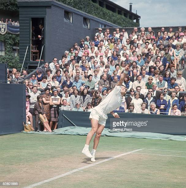 Australian tennis player Roy Emerson on court during the Wimbledon Lawn Tennis Championships June 1965 the year he beat fellow Australian Fred Stolle...