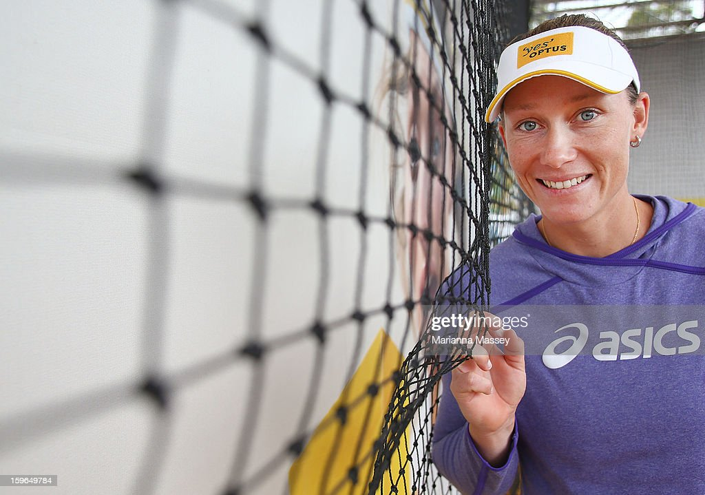 Australian tennis player Sam Stosur tests her serve speed in the the Optus 4G Speed Serve at Grand Slam Oval during day five of the 2013 Australian Open at Melbourne Park on January 18, 2013 in Melbourne, Australia.