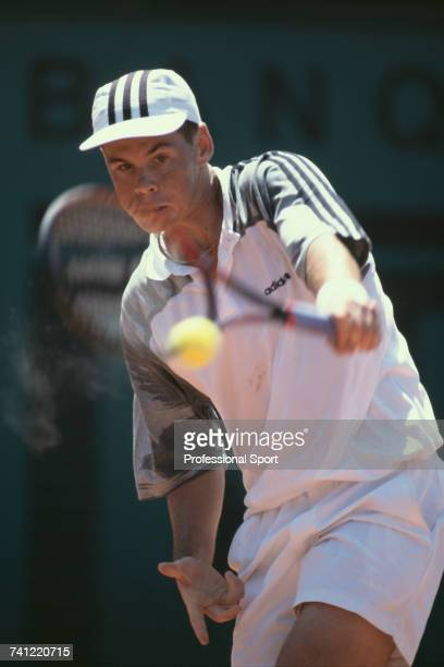 Australian tennis player Scott Draper pictured in action during progress to reach the fourth round of the Men's Singles tennis tournament at the 1996...