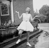 Australian tennis player Susan Alexander takes a rain check at The Hurlingham Club Fulham London 25th June 1967 She is wearing white lace bloomers by...