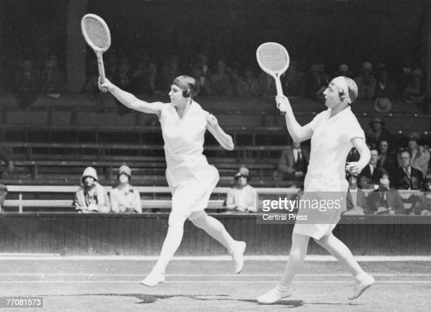 Australian tennis players Daphne Akhurst Cozens and Esna Boyd during the ladies' doubles at Wimbledon 1928