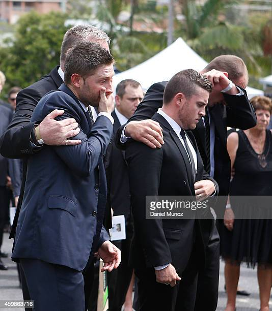 Australian Test Cricket Captain Michael Clarke show his emotion during the Funeral Service for Phillip Hughes on December 3 2014 in Macksville...