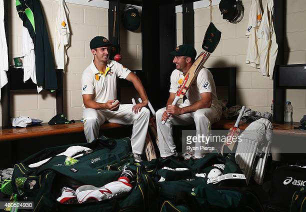 Australian Test cricket players brothers Mitch March and Shaun Marsh pose during a portrait session at The Gabba on December 16 2014 in Brisbane...