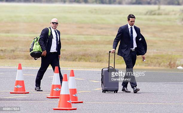 Australian test team coach Darren Lehmann and player Mitchell Johnson arrive to Coffs Harbour ahead of today's Funeral Service for Phillip Hughes on...
