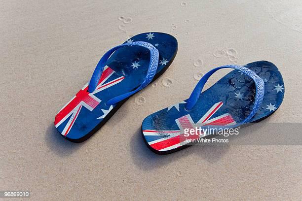 Australian Thongs on a beach