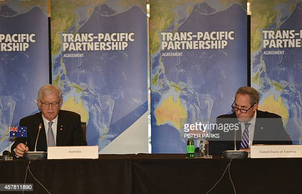 Australian Trade Minister Andrew Robb and US Trade Representative Mike Froman attend the start of the TransPacific Partnership a panPacific trade...
