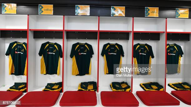 Australian training shirts hang in the dressing room prior to the Old Mutual Wealth Series match between England and Australia at Twickenham Stadium...