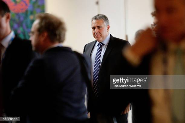 Australian Treasurer Joe Hockey arrives at the B20 Summit on July 18 2014 in Sydney Australia Over 350 business leaders have gathered in Sydney for...