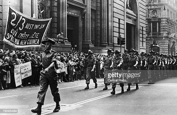 Australian troops parade through the streets of Sydney upon their return home from the Vietnam War 13th June 1966