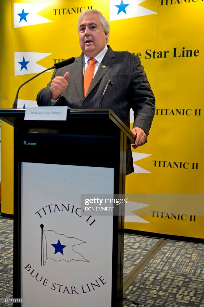 Australian tycoon Clive Palmer talks about his plan for building a perfect replica of the Titanic at a news conference February 26, 2013 in New York. More than a century after the original, supposedly unsinkable ocean liner hit an iceberg and went down in the North Atlantic, Palmer says he thinks the time has come to complete the unfinished journey to New York.'The Titanic was the ship of dreams. Titanic II is the ship where dreams will come true,' Palmer said in New York at the project's official launch.